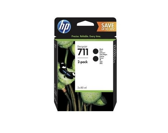 HP Inc. 711 80ml 2-Pack Black P2V31A