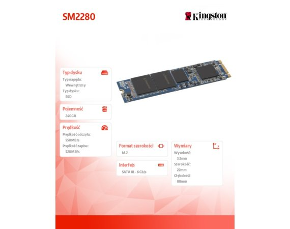 Kingston SM2280 240GB M.2 2280 550/520MB/s