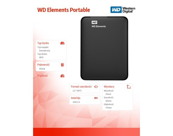 Western Digital WD Elements 750GB 2,5'' WDBUZG7500ABK-WESN