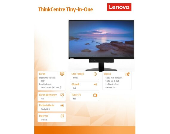 "Lenovo 23.8"" ThinkCentre Tiny-in-One 10LLPAT6EU LED Backlit LCD Monitor"