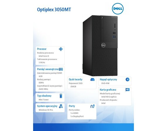 Dell Optiplex 3050MT Win10Pro i3-7100/256GB/4GB/DVDRW/Intel HD/MS116/KB216/3Y NBD