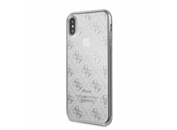 GUESS GUHCPXTR4GSI hardcase iPhone X srebrny 4G Transparent