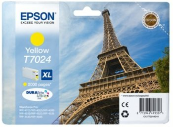 Epson Tusz T7024 YELLOW XL do serii WorkForce WP400/4500 (2.0k)