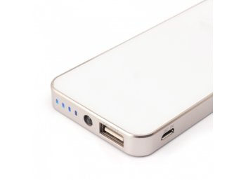 SUNEN PowerBank 4500mAh, Li-Poly, LED, biały