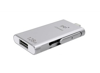 PQI Flash 128GB iConnect USB/ Lighting, Srebrny