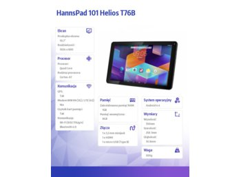 HANNSPREE Tablet 10,1'' WiFi, QC 1,3 Ghz, 1GB RAM