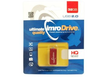 IMRO PENDRIVE EDGE 32GB RED USB 2.0 METALLIC WATERPROOF SHOCKPROOF
