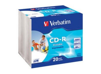 Verbatim CD-R 52x 700MB 20P Slim Printable Azo ID