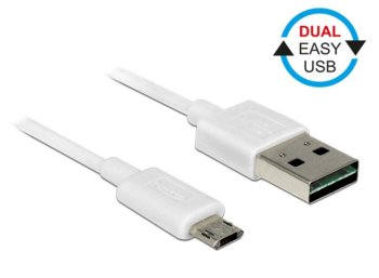 Delock Kabel Micro USB AM-BM DUAL EASY-USB 1m White