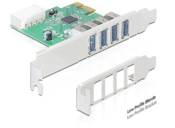 Delock Karta PCI Express -> USB 3.0 4-port Low Profile